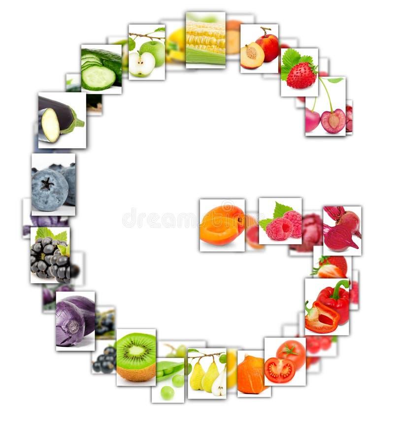 水果和蔬菜信件 免版税库存照片