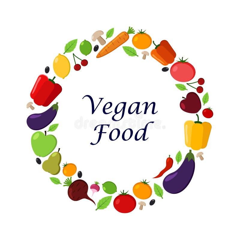 水果和蔬菜导航在白色背景的框架 现代平的例证 素食主义者食物 健康食物设计 库存例证