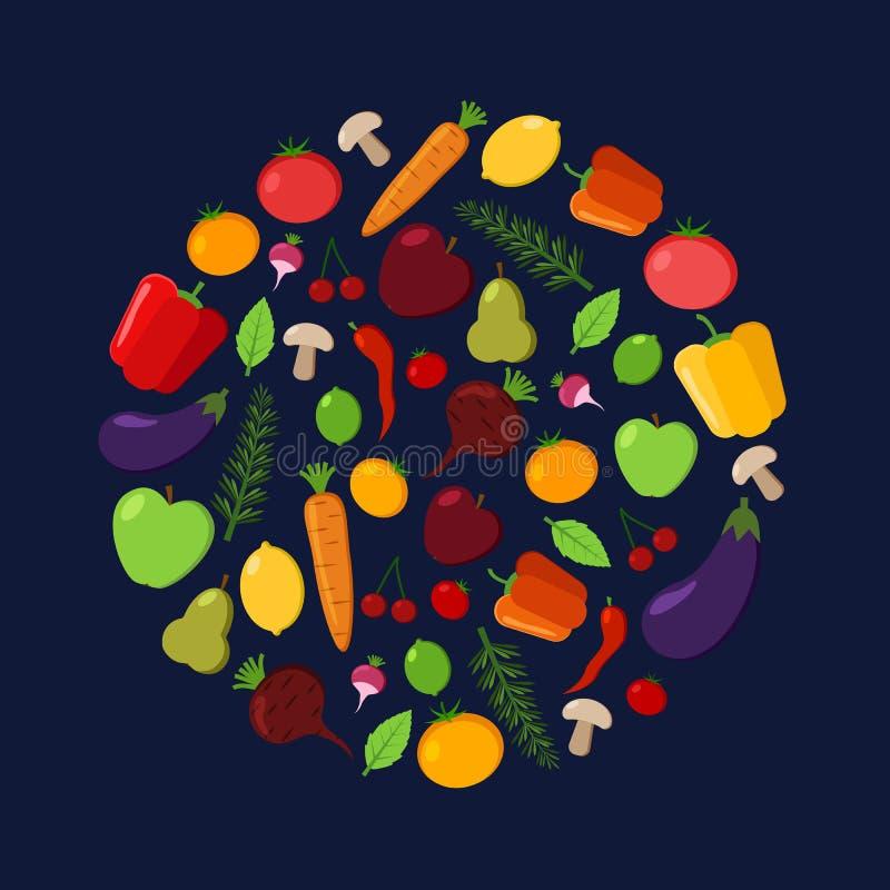 水果和蔬菜导航在黑暗的背景的圈子 现代平的例证 健康食物设计 皇族释放例证