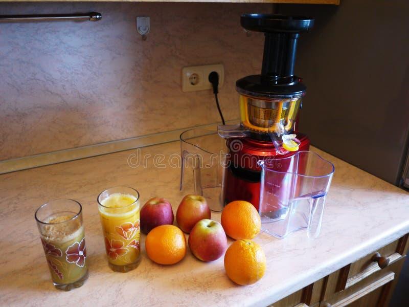 水果和蔬菜榨汁器 使用为在家做汁液和圆滑的人 免版税库存照片