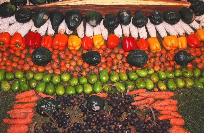 水果和蔬菜食物危地马拉A美好的显示  免版税库存照片