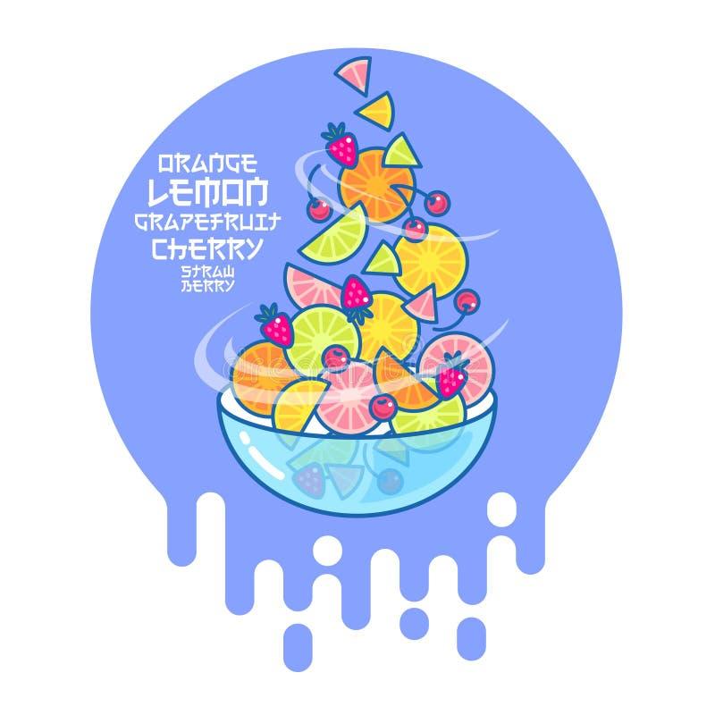 水果沙拉和玻璃碗平的例证 滑稽的色的果子和莓果 库存例证