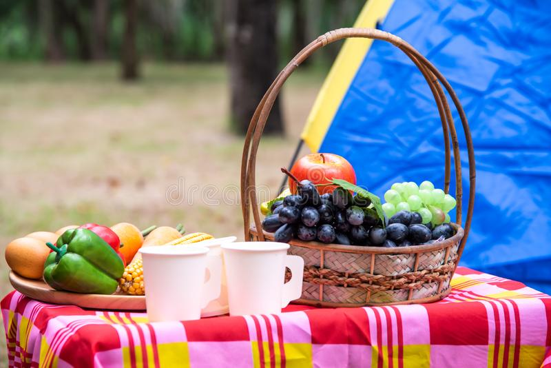 水果篮、野餐编织品用食物在桌上和帐篷fo 库存照片
