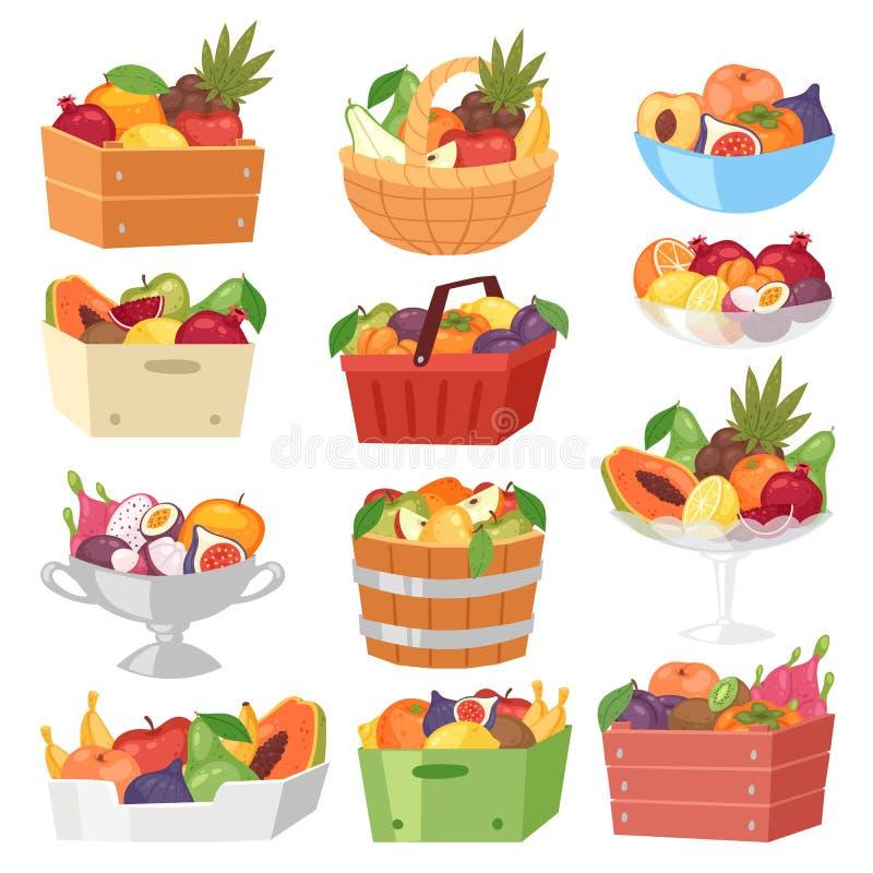 水果篮传染媒介水果的苹果香蕉和异乎寻常的番木瓜在箱子例证卓有成效的集合水多的桔子与新鲜 皇族释放例证