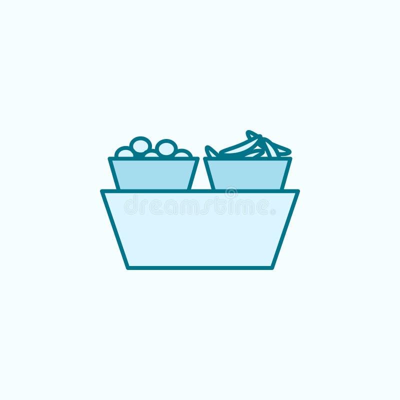 水果篮2种族分界线象 简单的色素例证 水果篮概述从购物中心集合的标志设计 向量例证