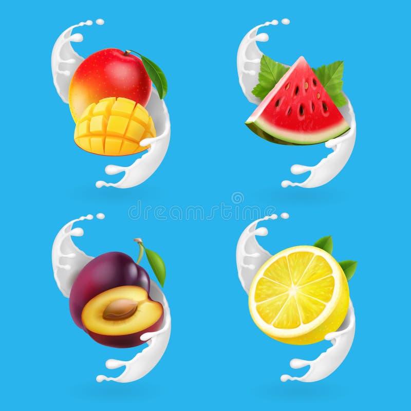 水果酸牛奶集合 芒果、柠檬、西瓜、李子和牛奶飞溅现实传染媒介象 库存例证