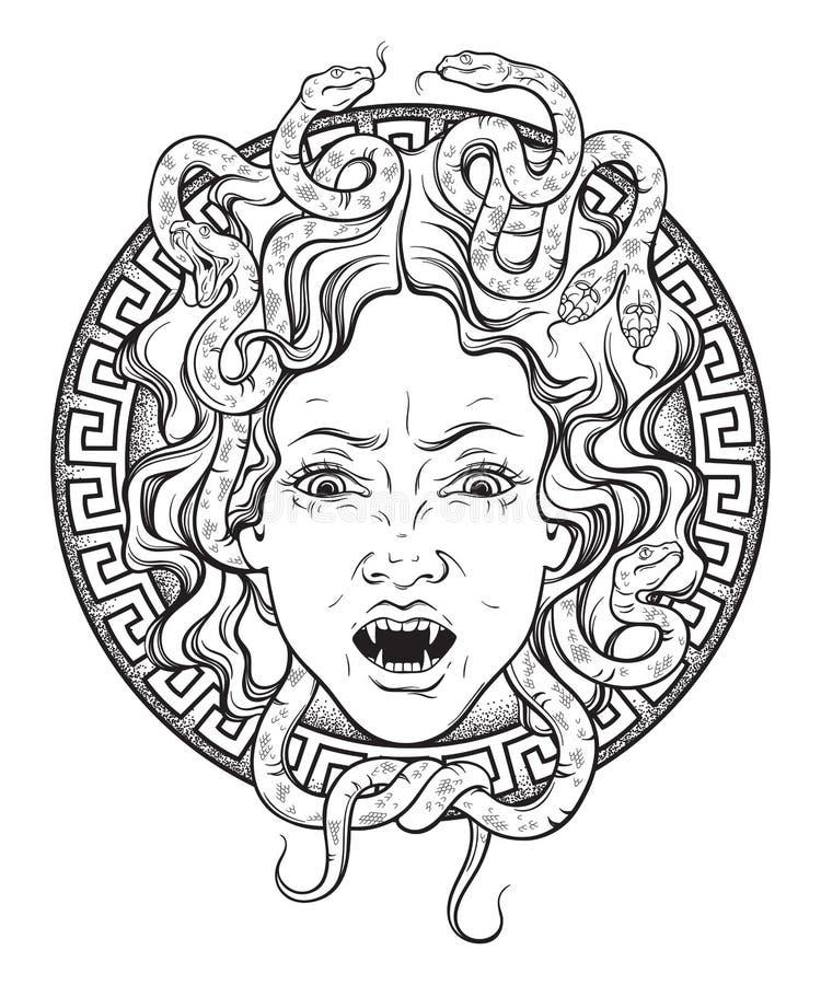水母在盾手拉的线艺术和小点的Gorgon头运转纹身花刺或打印设计被隔绝的传染媒介例证 女魔脸形饰是 向量例证