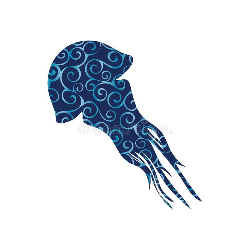 水母水生螺旋样式颜色剪影动物 向量例证