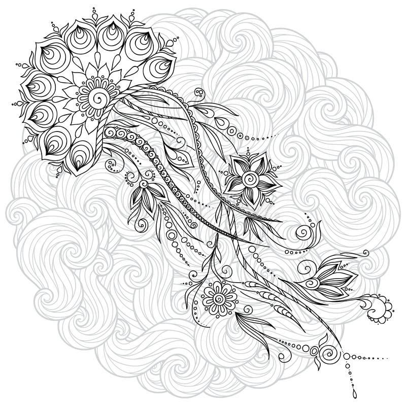 水母的抽象图表例证在传染媒介的 皇族释放例证