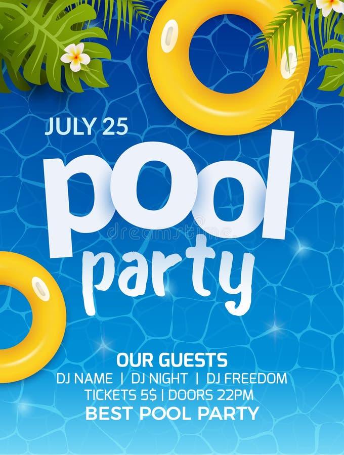 水池夏天党邀请横幅飞行物设计 水和棕榈可膨胀的黄色床垫 池边聚会模板海报 皇族释放例证