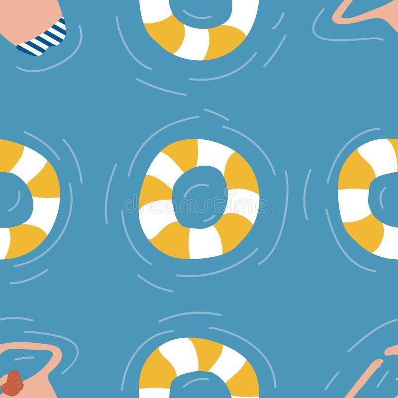 水池无缝的样式的游泳者 库存例证