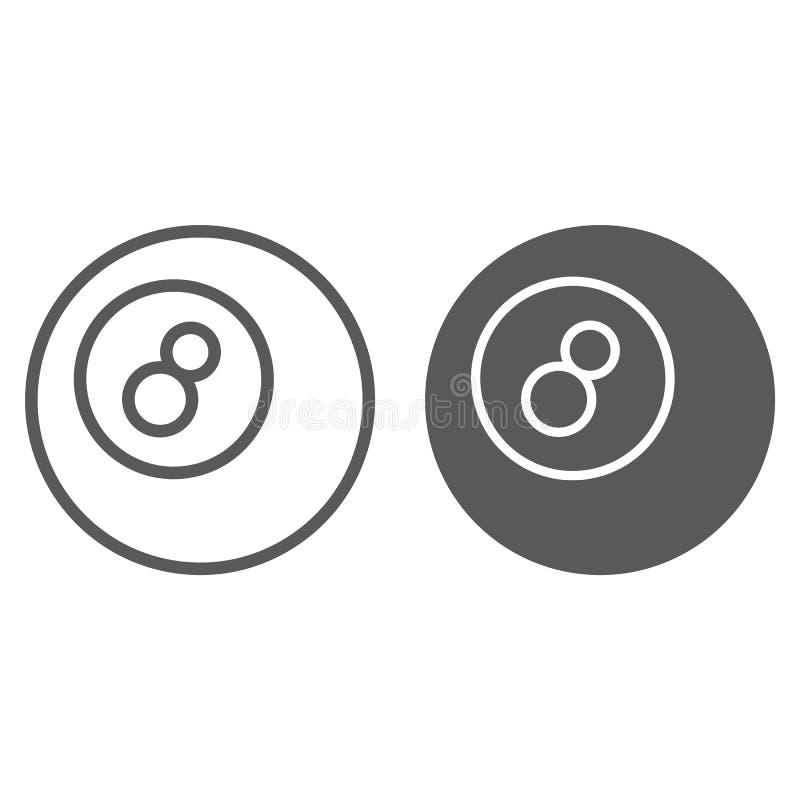 水池球线和纵的沟纹象、比赛和体育,球标志,向量图形,在白色背景的一个线性样式, 向量例证