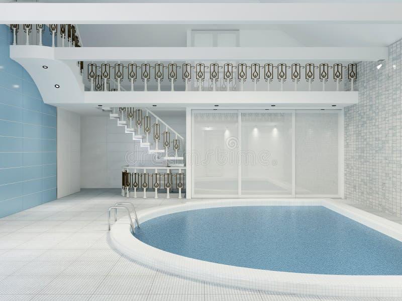 水池的内部在一个私有房子是现代的在样式 向量例证