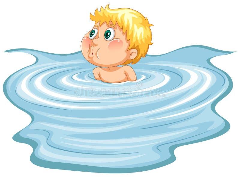 水池的年轻男孩 皇族释放例证