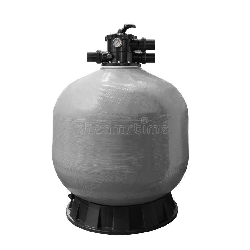 水池的滤水器,净水的从机械杂质,灰色坦克过滤装置 免版税库存照片