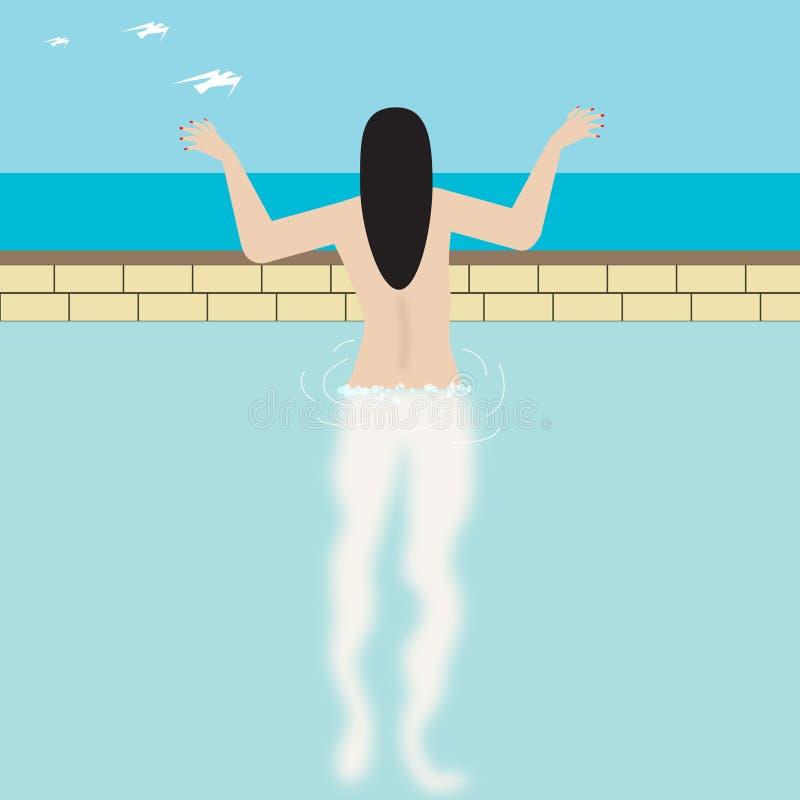 水池的裸体妇女 库存例证