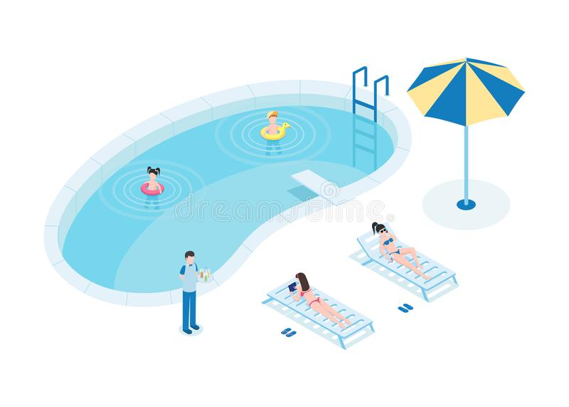 水池等量传染媒介例证的游人 有孩子和侍者3D卡通人物的母亲 年轻女人 皇族释放例证