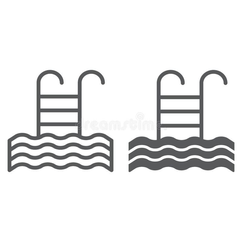 水池线和纵的沟纹象、游泳和水,梯子标志,向量图形,在白色背景的一个线性样式 库存例证