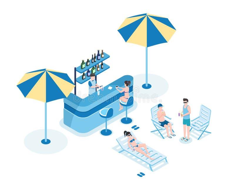 水池酒吧等量传染媒介例证的人们 酒吧老板、妇女比基尼泳装的和人夏天衣裳3D动画片的 向量例证