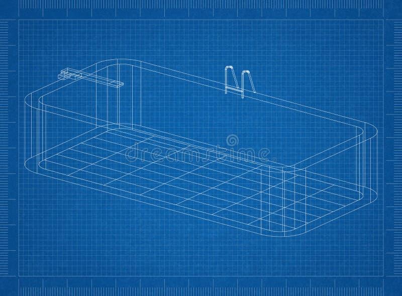 水池3D图纸 库存例证