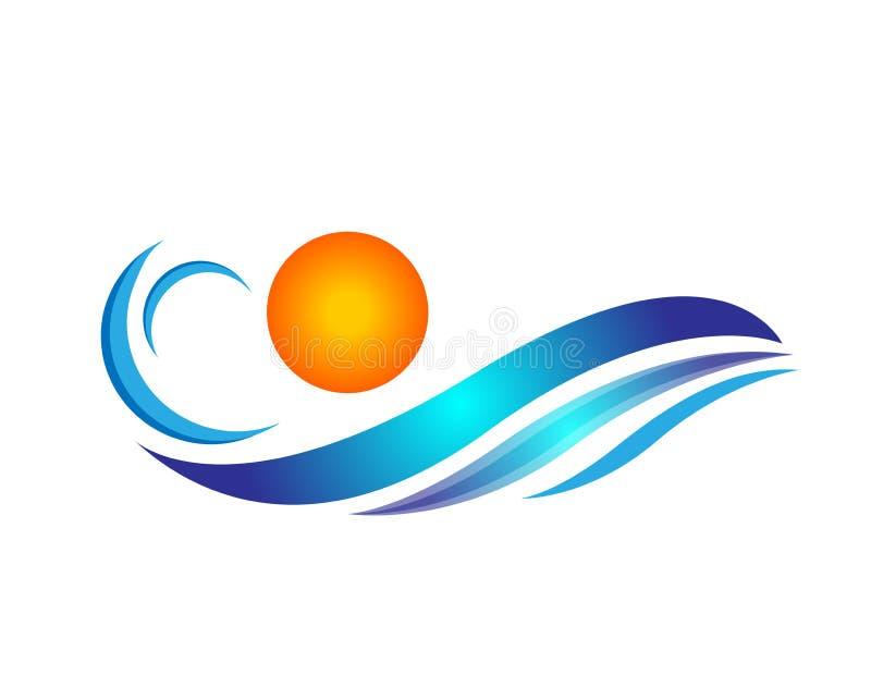 水波和太阳商标海波浪海洋海滩商标模板传染媒介净水概念商标象在白色背景的元素标志 皇族释放例证