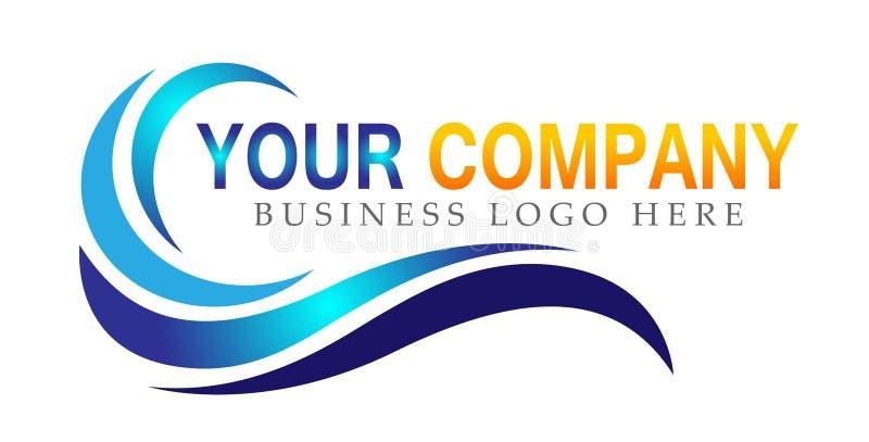 水波海波浪海洋海滩商标模板传染媒介净水下落概念商标象在白色背景的元素标志 向量例证