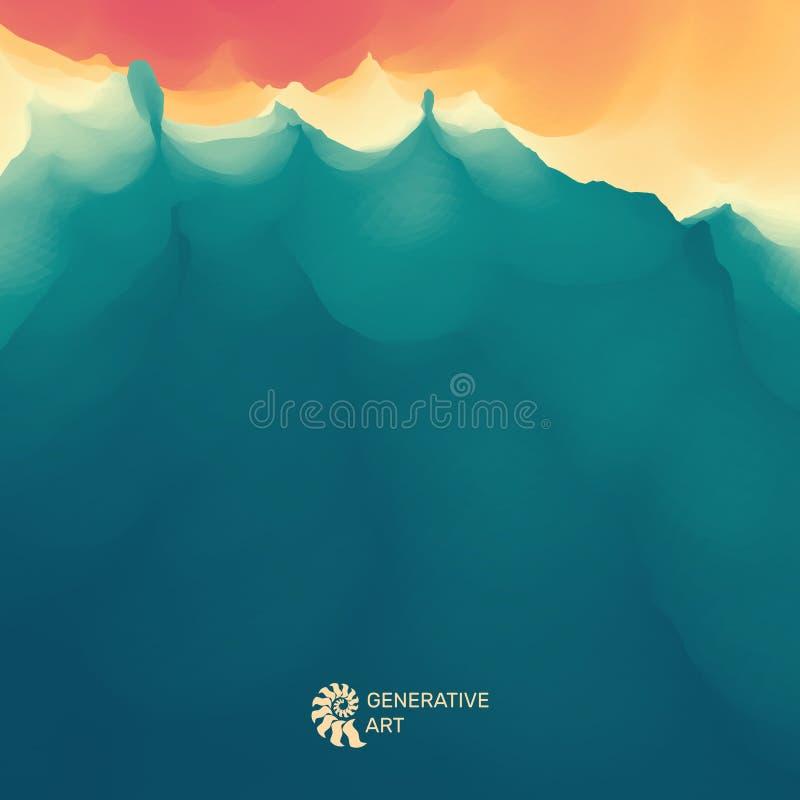 水波 金黄波纹水面 背景蓝色云彩调遣草绿色本质天空空白小束 现代模式 您设计新例证自然向量的水 向量例证