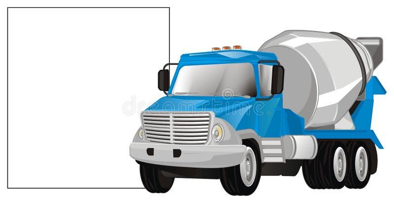 水泥卡车和海报 向量例证