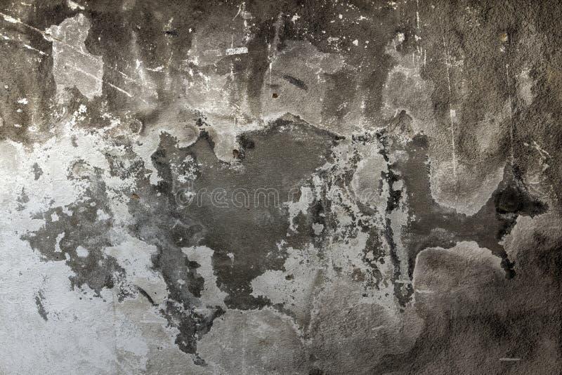 水泥墙壁纹理肮脏的概略的难看的东西黑白背景 库存照片