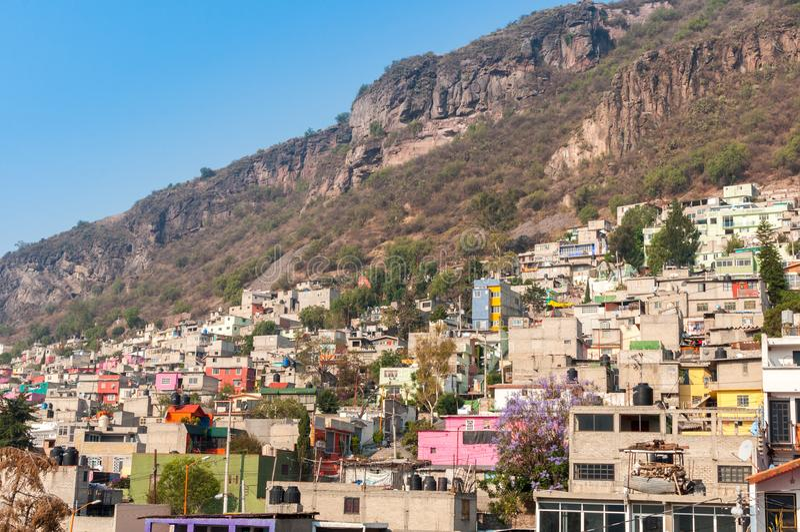 水泥房子在特拉尔内潘特拉,墨西哥城 图库摄影