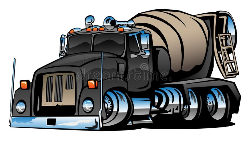 水泥搅拌车卡车动画片传染媒介例证 向量例证