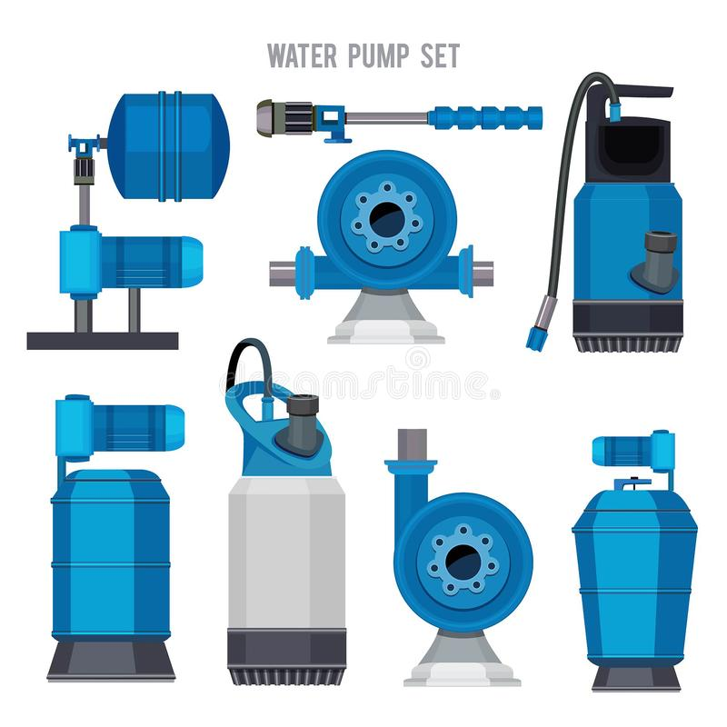 水泵系统 被设置的水色治疗电子钢压缩机农业污水驻地传染媒介象 库存例证
