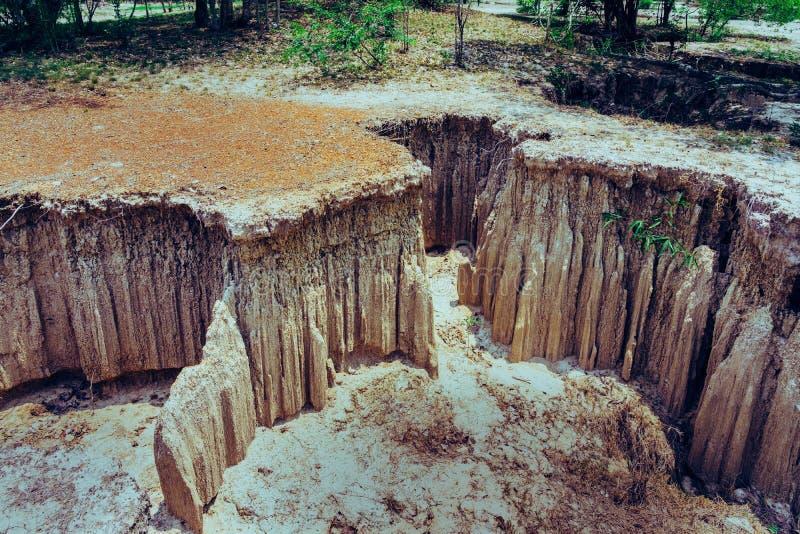 水流量吻合风景通过地面有土壤的侵蚀和崩溃入自然层数在Pong Yub, 免版税库存照片