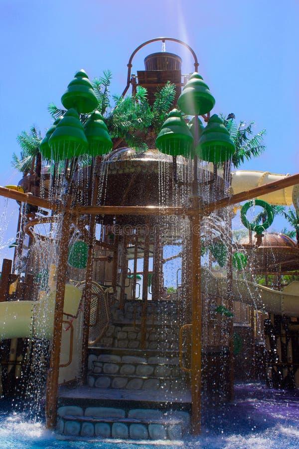 水滑道在水公园在旅馆 图库摄影