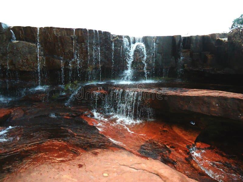 水瀑布伟大的大草原亚马逊委内瑞拉 免版税库存图片