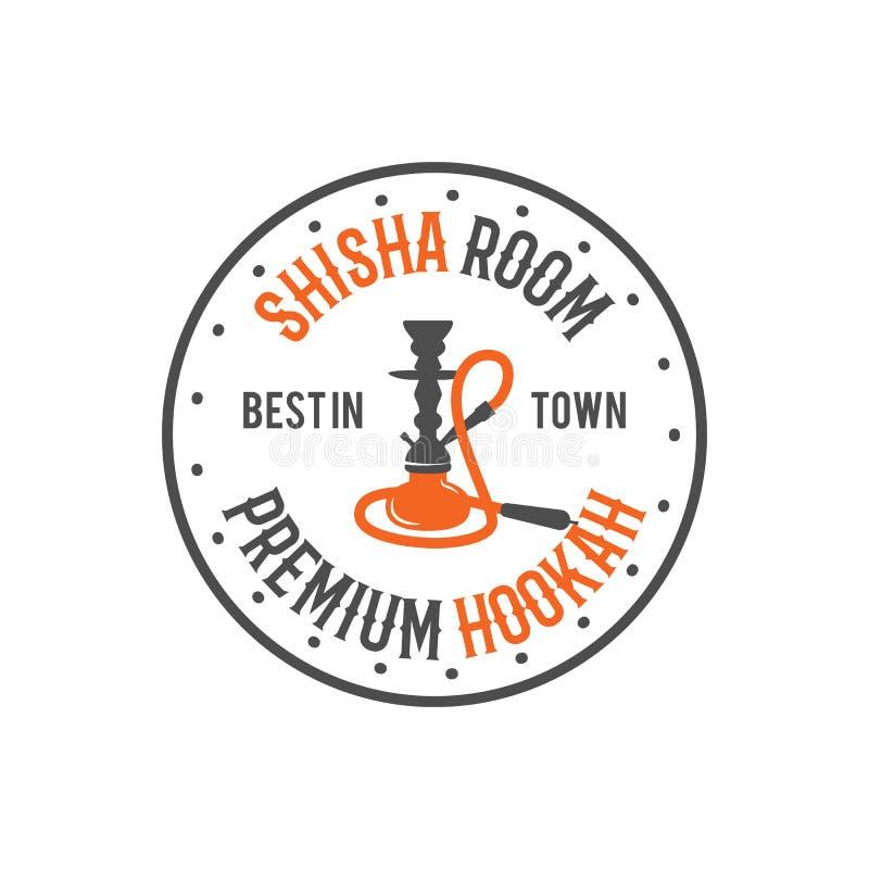 水烟筒放松标签,徽章 葡萄酒shisha室商标 休息室咖啡馆象征 阿拉伯酒吧或房子,商店 查出 股票 皇族释放例证