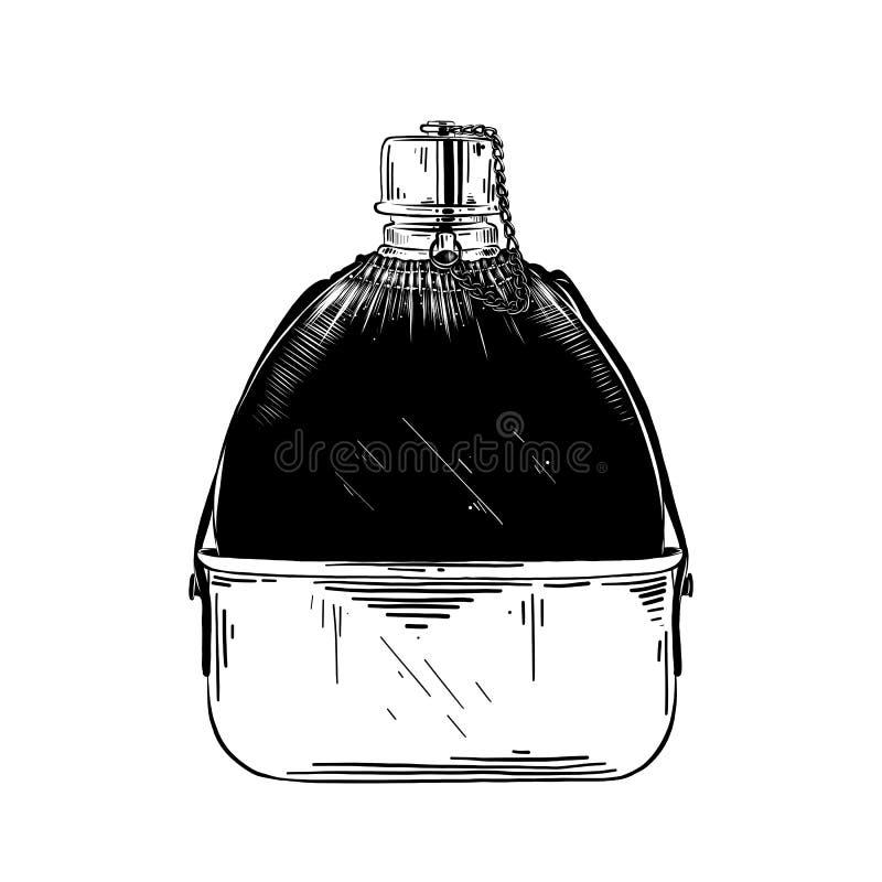 水熟悉内情的烧瓶手拉的剪影在白色背景在黑色的隔绝的 详细的葡萄酒蚀刻样式图画 皇族释放例证