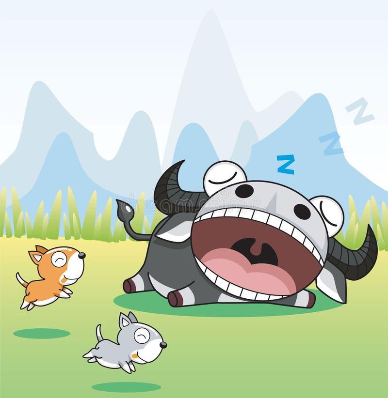 水牛休眠 向量例证