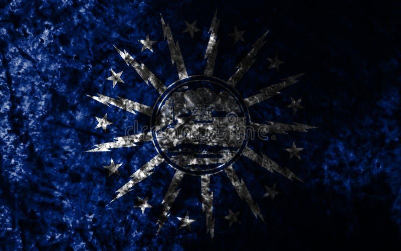 水牛城城市在老肮脏的墙壁,纽约州,美利坚合众国上的难看的东西旗子 向量例证