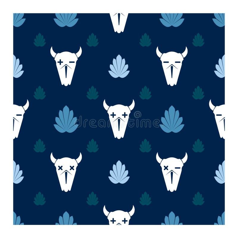 水牛的头骨在被放弃的森林里 向量例证
