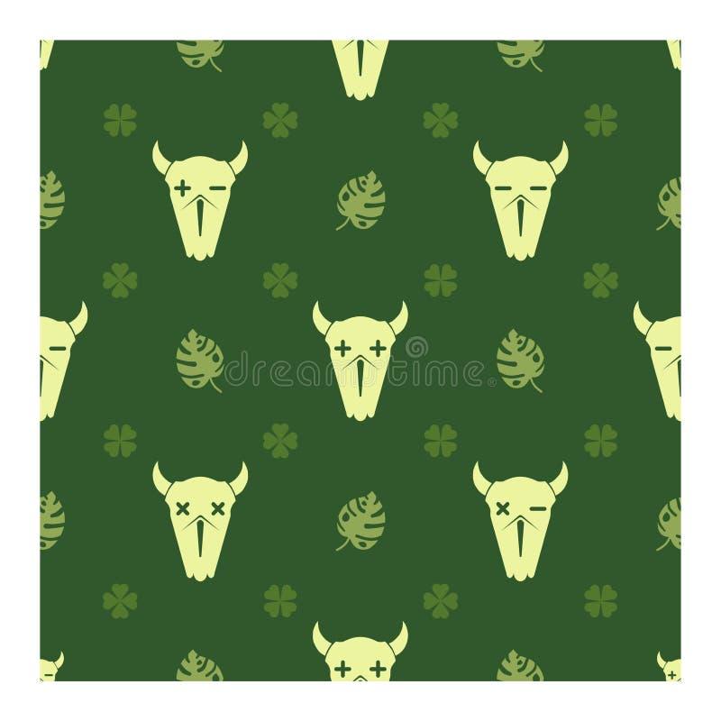 水牛的头骨在被放弃的森林里 皇族释放例证