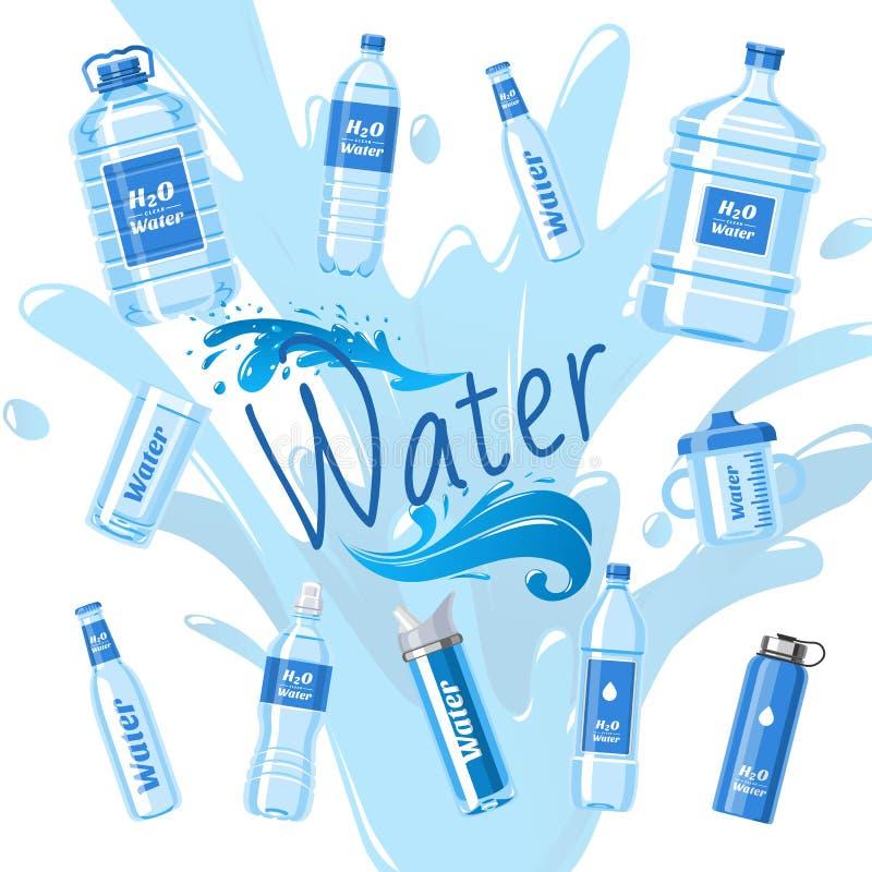 水瓶做了塑料横幅传染媒介例证 有标签的健康阿瓜瓶 在容器的干净的纯净的饮料 皇族释放例证