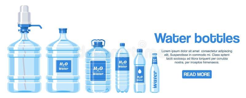 水瓶做了塑料网络设计横幅传染媒介例证 有标签的健康阿瓜瓶 干净的纯净的饮料 库存例证