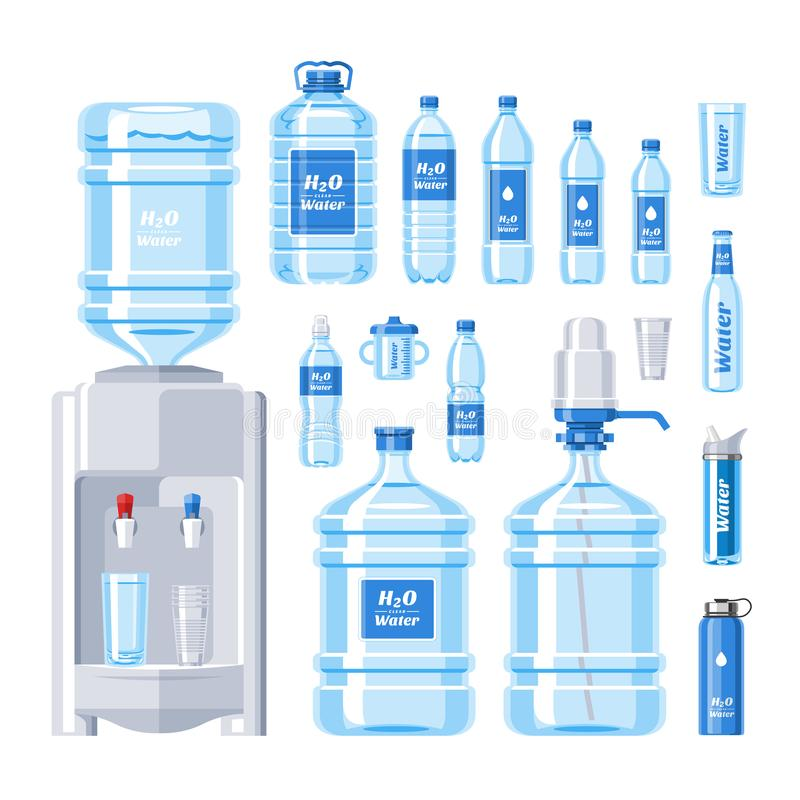 水瓶水饮料在塑胶容器例证套装瓶的液体水色被隔绝的瓶装水致冷机  皇族释放例证