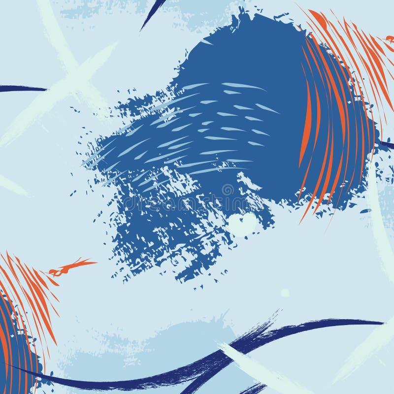 水生刷子冲程最小的样式 夏天现代动态纹理 传神深颜色油漆印刷品 抽象形状 皇族释放例证