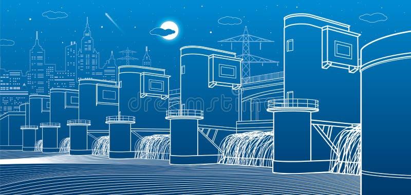 水电厂 河水坝 能量驻地 城市基础设施工业例证 在蓝色背景的空白线路 向量 皇族释放例证