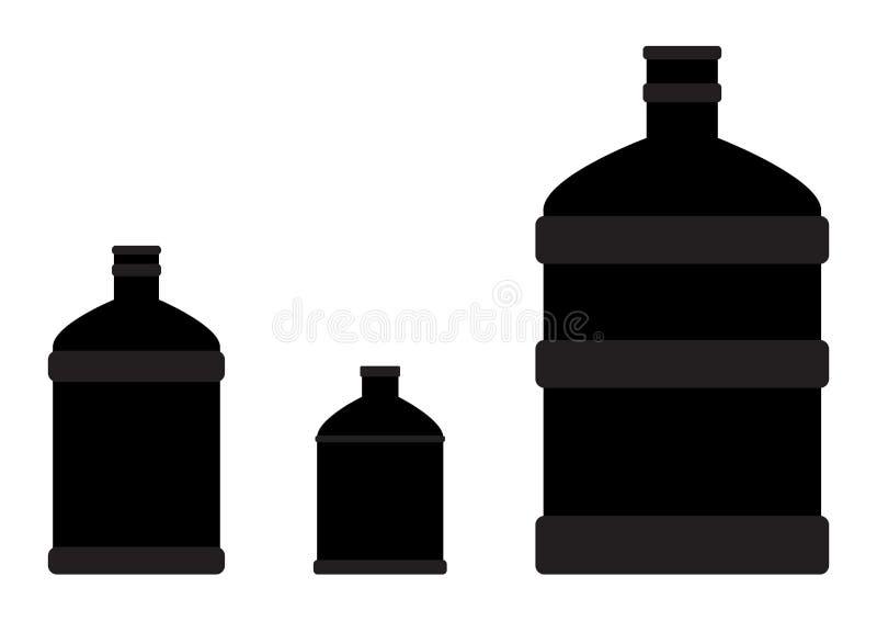 水的被设置的被隔绝的黑塑料透明瓶,剪影瓶 ?? 向量例证