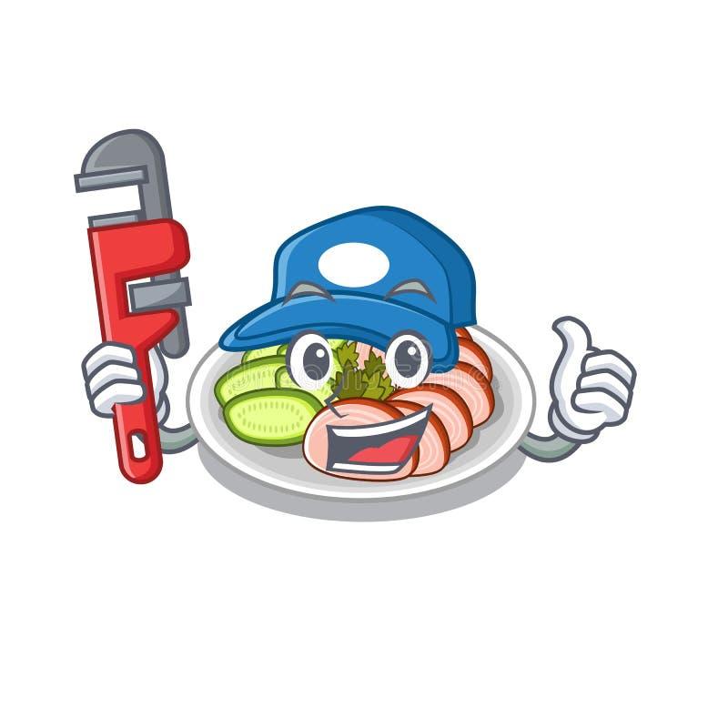 水管工北京烤鸭在动画片板材服务 向量例证