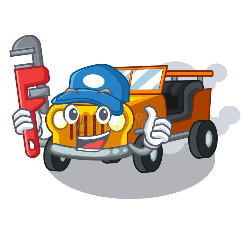 水管工吉普在前面赦免的动画片汽车 向量例证