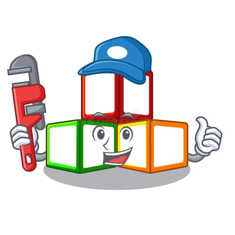 水管工在立方体箱子吉祥人的玩具块 库存例证